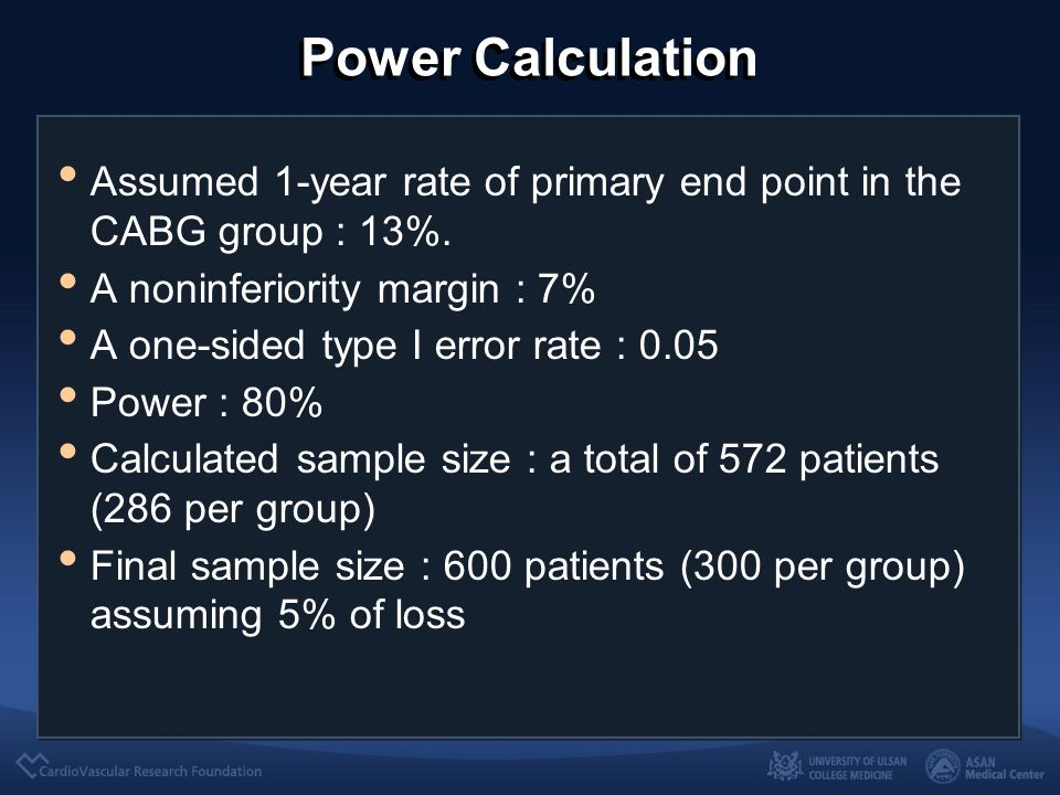 Power Calculation Assumed 1-year rate of primary end point in the CABG group : 13%. A noninferiority margin : 7% A one-sided type I error rate : 0.05