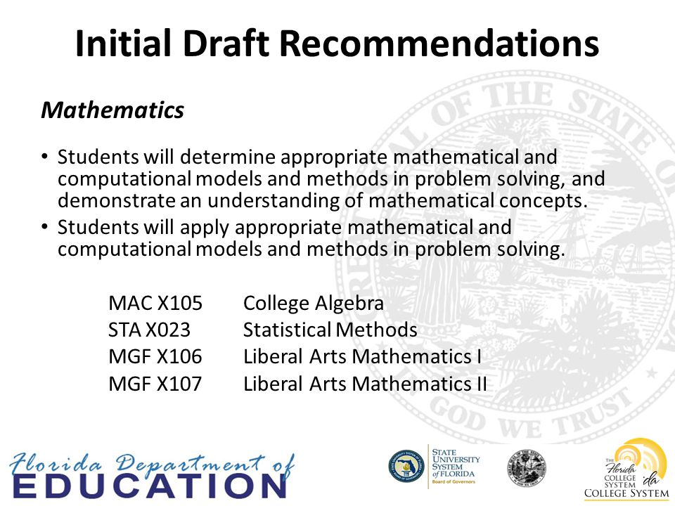 Initial Draft Recommendations Mathematics Students will determine appropriate mathematical and computational models and methods in problem solving, and demonstrate an understanding of mathematical concepts.