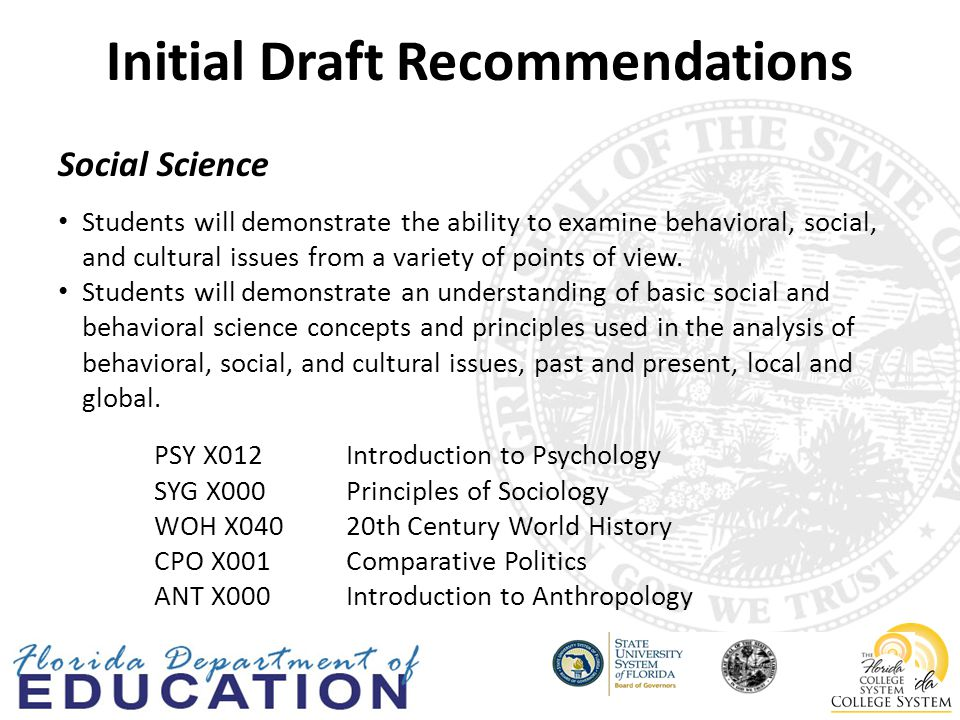 Initial Draft Recommendations Social Science Students will demonstrate the ability to examine behavioral, social, and cultural issues from a variety of points of view.