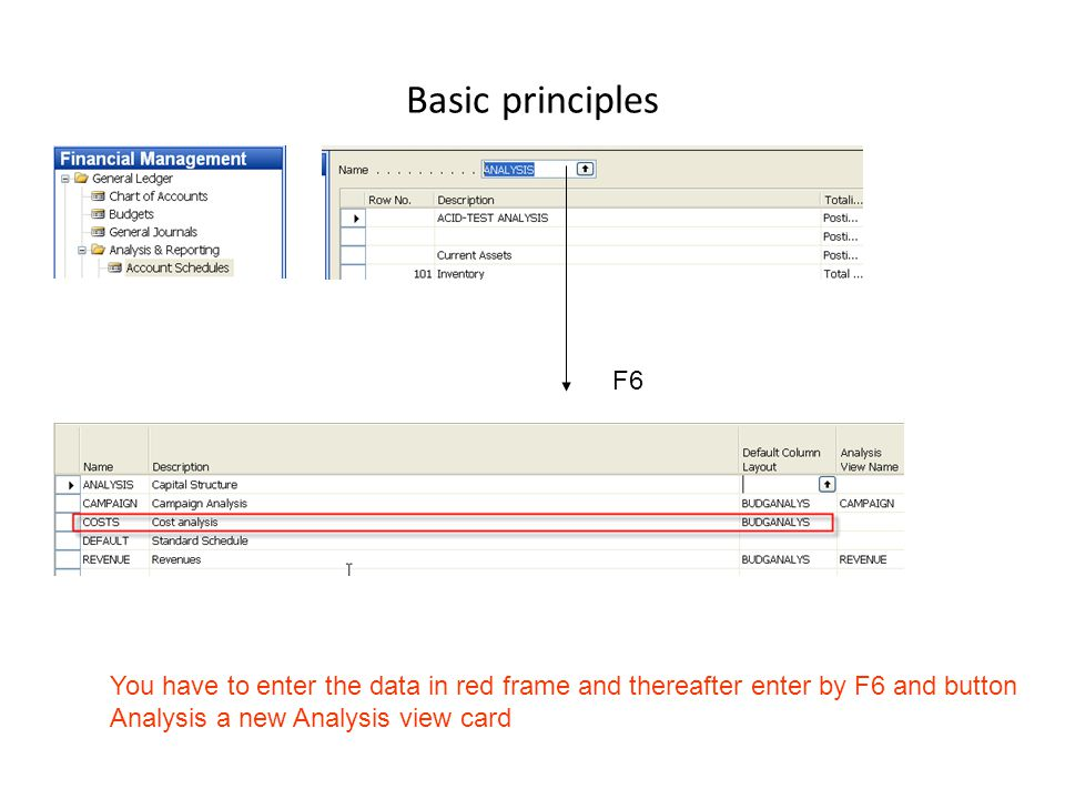 Basic principles F6 You have to enter the data in red frame and thereafter enter by F6 and button Analysis a new Analysis view card