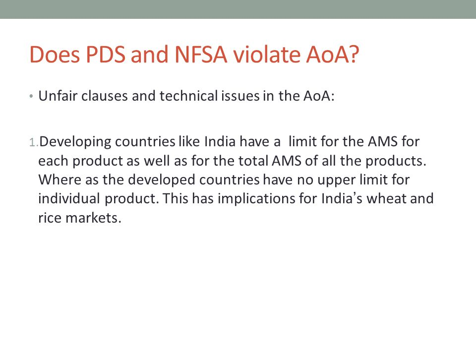 Does PDS and NFSA violate AoA. Unfair clauses and technical issues in the AoA: 1.