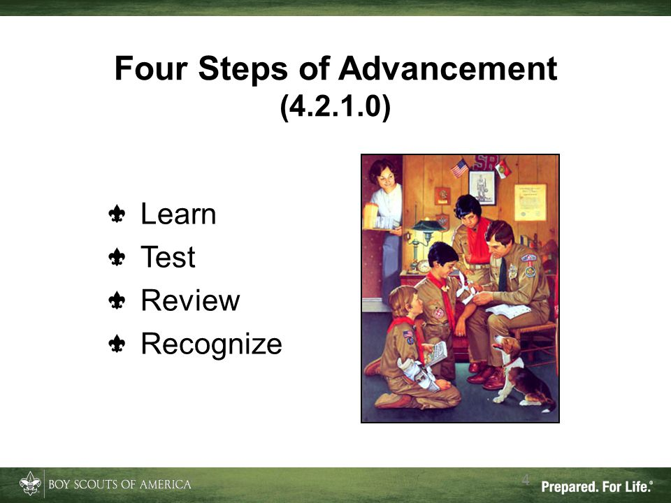 Four Steps of Advancement (4.2.1.0) 4 Learn Test Review Recognize