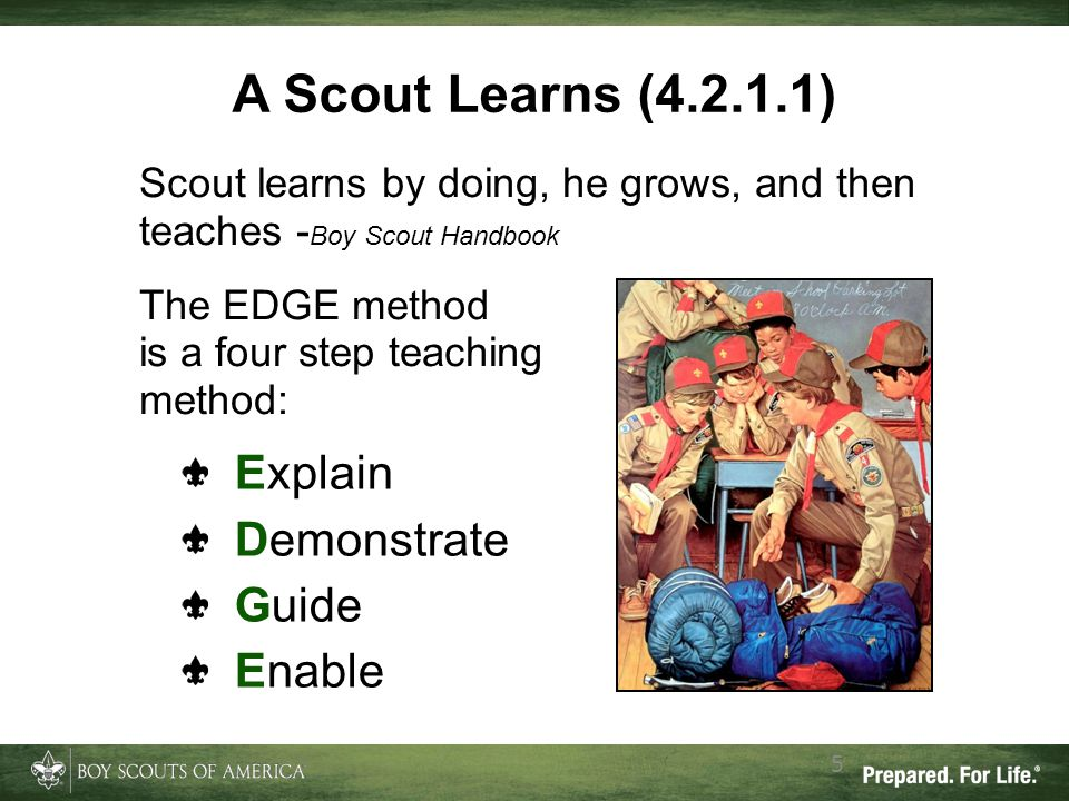 A Scout Learns (4.2.1.1) Scout learns by doing, he grows, and then teaches - Boy Scout Handbook The EDGE method is a four step teaching method: 5 Expl