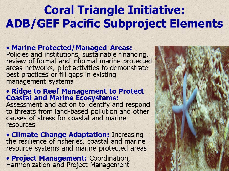 Coral Triangle Initiative: ADB/GEF Pacific Subproject Elements Marine Protected/Managed Areas: Policies and institutions, sustainable financing, review of formal and informal marine protected areas networks, pilot activities to demonstrate best practices or fill gaps in existing management systems Ridge to Reef Management to Protect Coastal and Marine Ecosystems: Assessment and action to identify and respond to threats from land-based pollution and other causes of stress for coastal and marine resources Climate Change Adaptation: Increasing the resilience of risheries, coastal and marine resource systems and marine protected areas Project Management: Coordination, Harmonization and Project Management