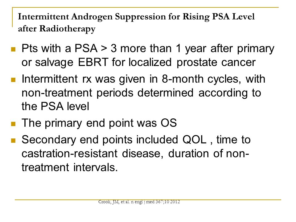Intermittent Androgen Suppression for Rising PSA Level after Radiotherapy Pts with a PSA > 3 more than 1 year after primary or salvage EBRT for localized prostate cancer Intermittent rx was given in 8-month cycles, with non-treatment periods determined according to the PSA level The primary end point was OS Secondary end points included QOL, time to castration-resistant disease, duration of non- treatment intervals.