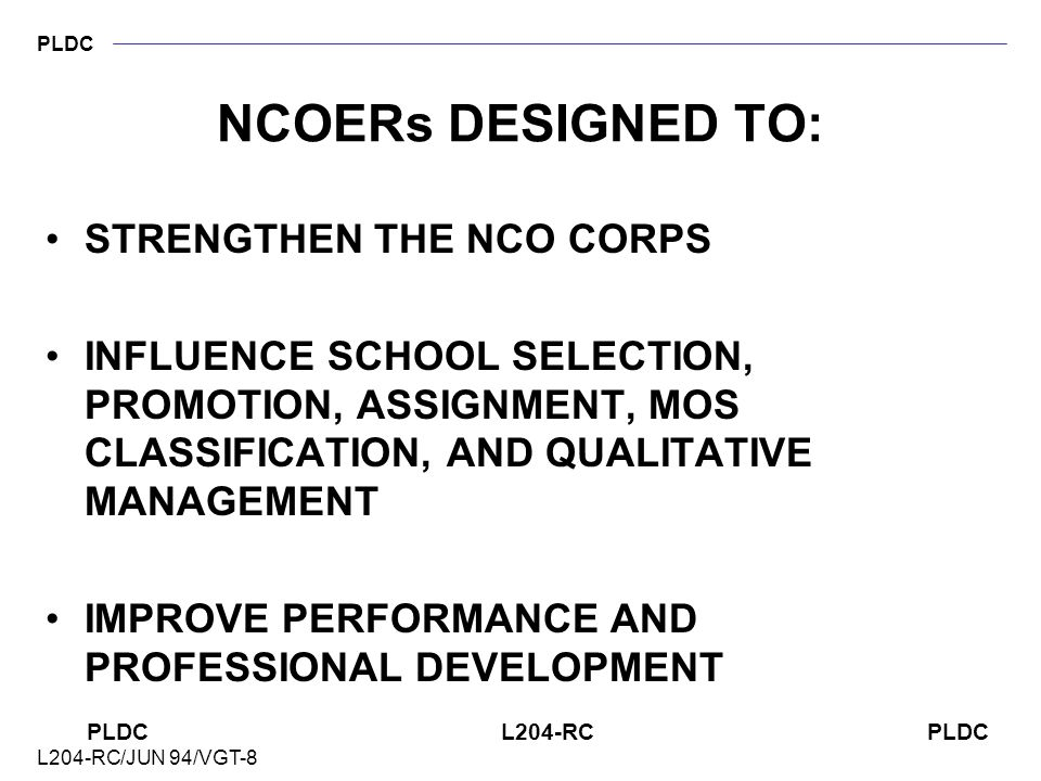 PLDC PLDC L204-RC PLDC L204-RC/JUN 94/VGT-8 REASONS FOR COUNSELING RECEPTION AND INTEGRATION PERFORMANCE PERSONAL DISCIPLINE PROFESSIONAL GROWTH/GUIDA