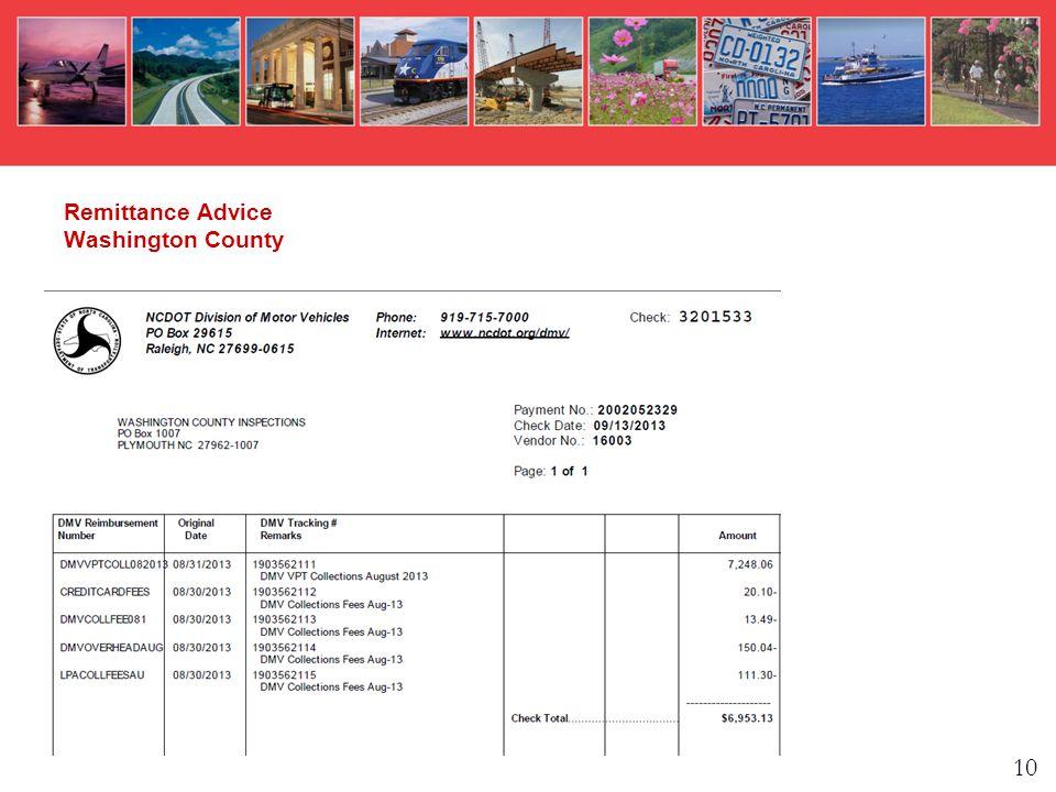Remittance Advice Washington County 10