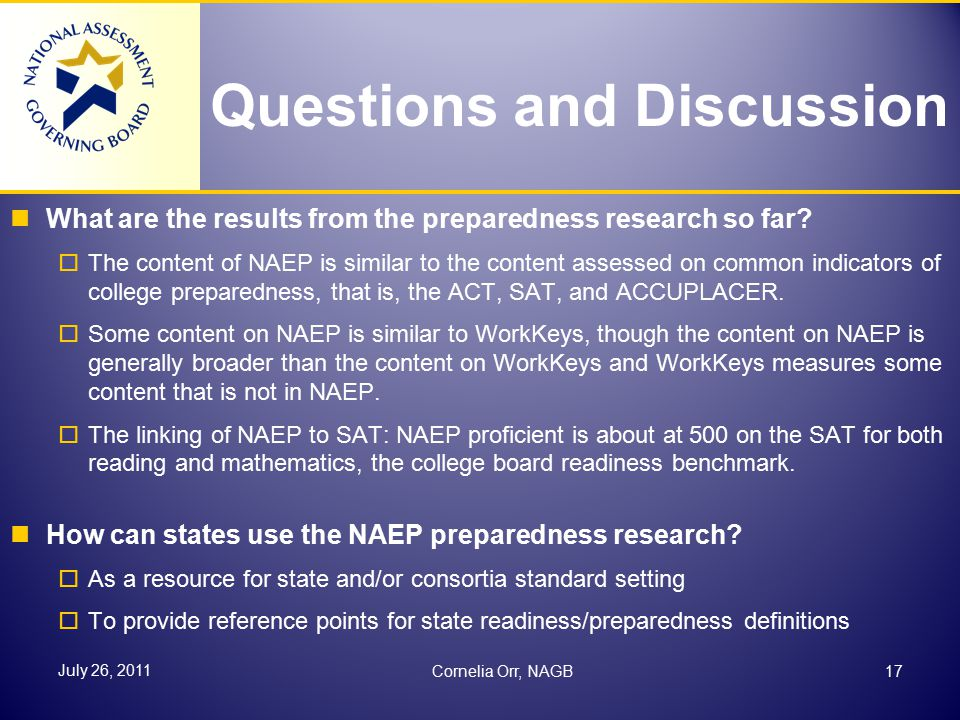 Questions and Discussion What are the results from the preparedness research so far.