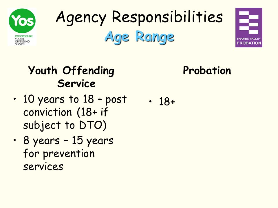 Age Range Agency Responsibilities Age Range Probation 18+ Youth Offending Service 10 years to 18 – post conviction (18+ if subject to DTO) 8 years – 15 years for prevention services