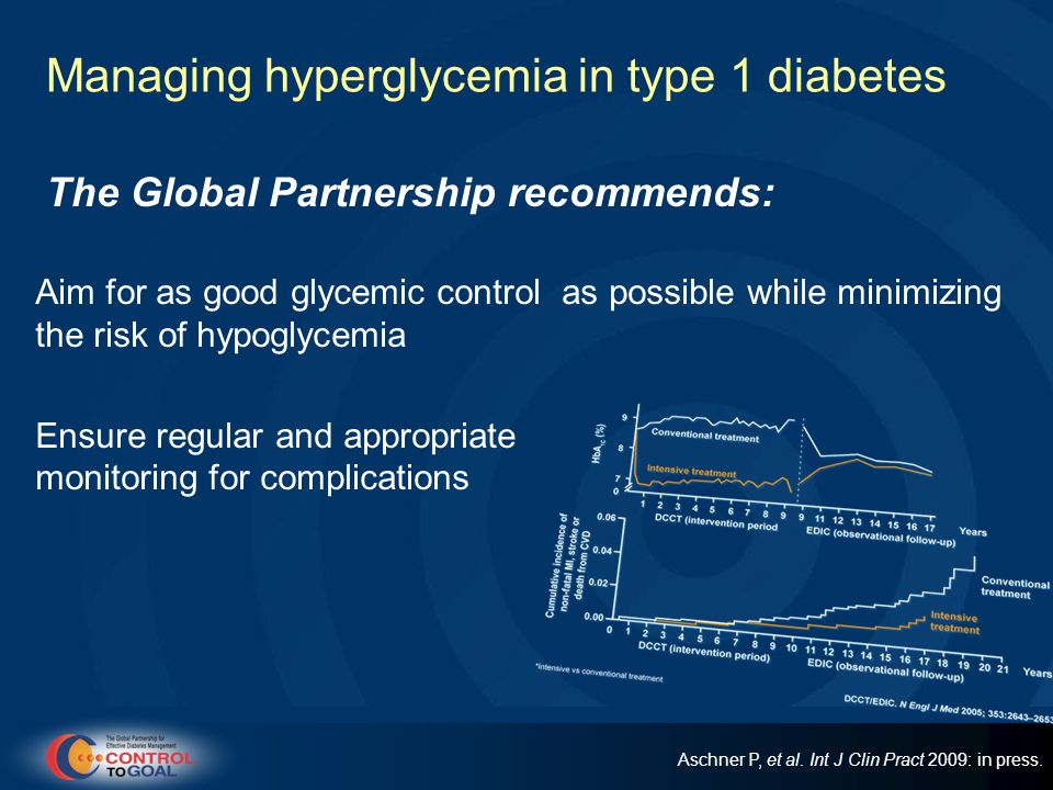 Managing hyperglycemia in type 1 diabetes The Global Partnership recommends: Aim for as good glycemic control as possible while minimizing the risk of hypoglycemia Ensure regular and appropriate monitoring for complications Aschner P, et al.