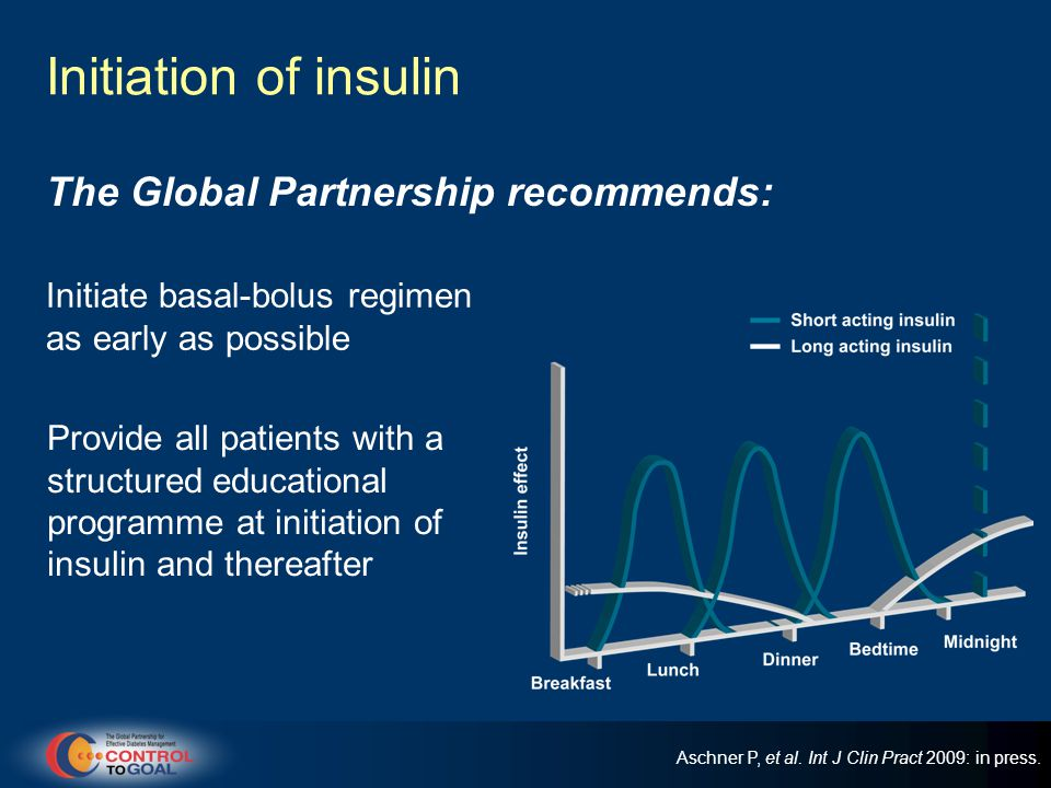Initiation of insulin Initiate basal-bolus regimen as early as possible The Global Partnership recommends: Provide all patients with a structured educational programme at initiation of insulin and thereafter Aschner P, et al.