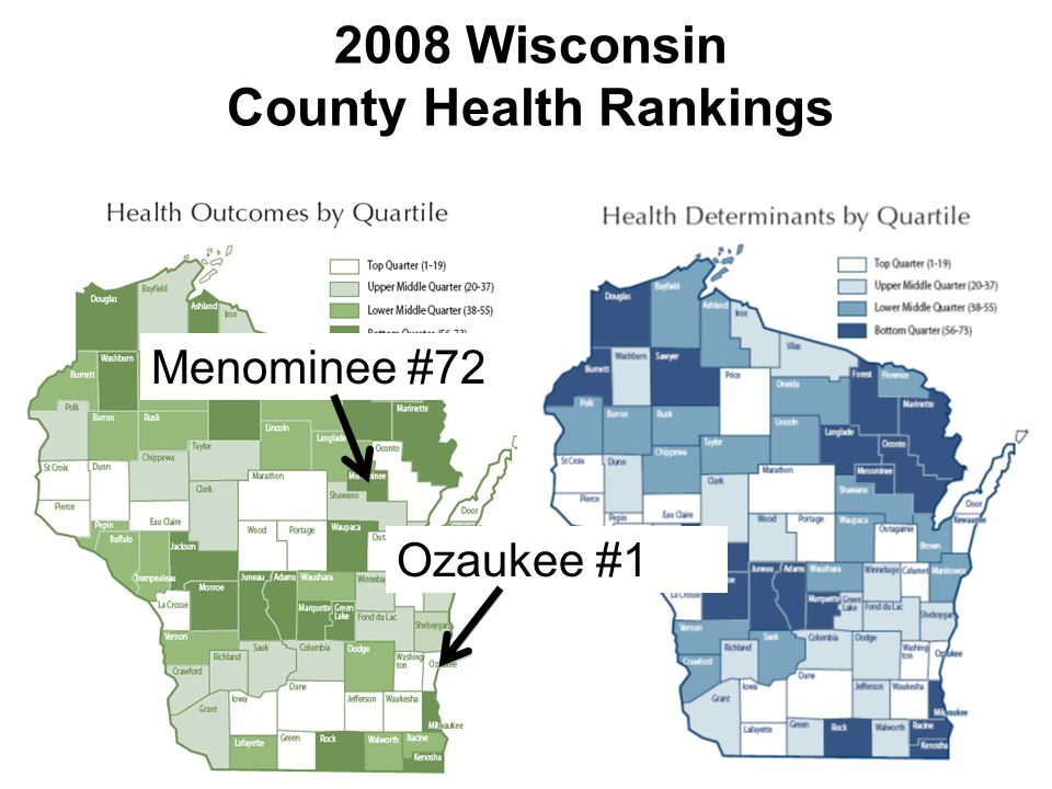 2008 Wisconsin County Health Rankings Ozaukee #1 Menominee #72
