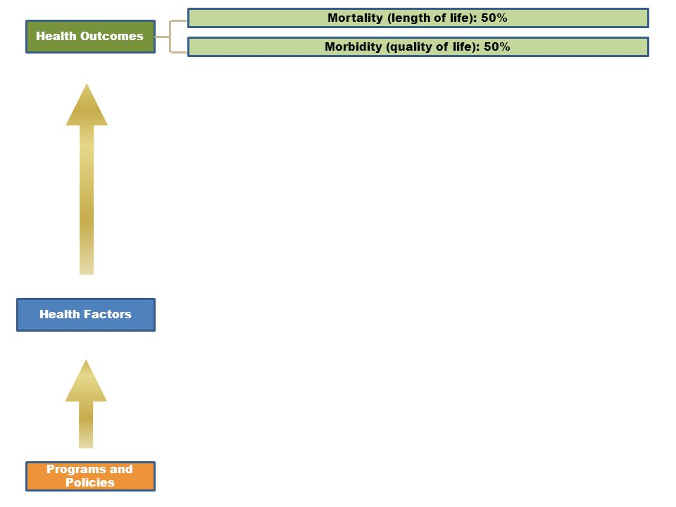 Health Factors Programs and Policies Health Outcomes Mortality (length of life): 50% Morbidity (quality of life): 50%