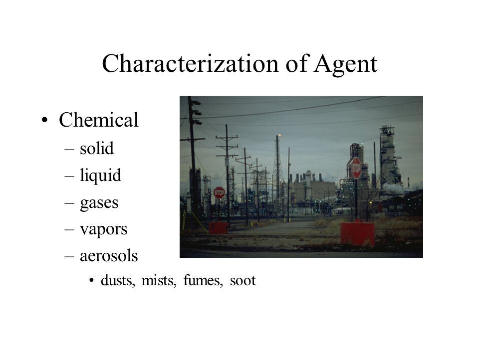 Characterization of Agent Chemical –solid –liquid –gases –vapors –aerosols dusts, mists, fumes, soot