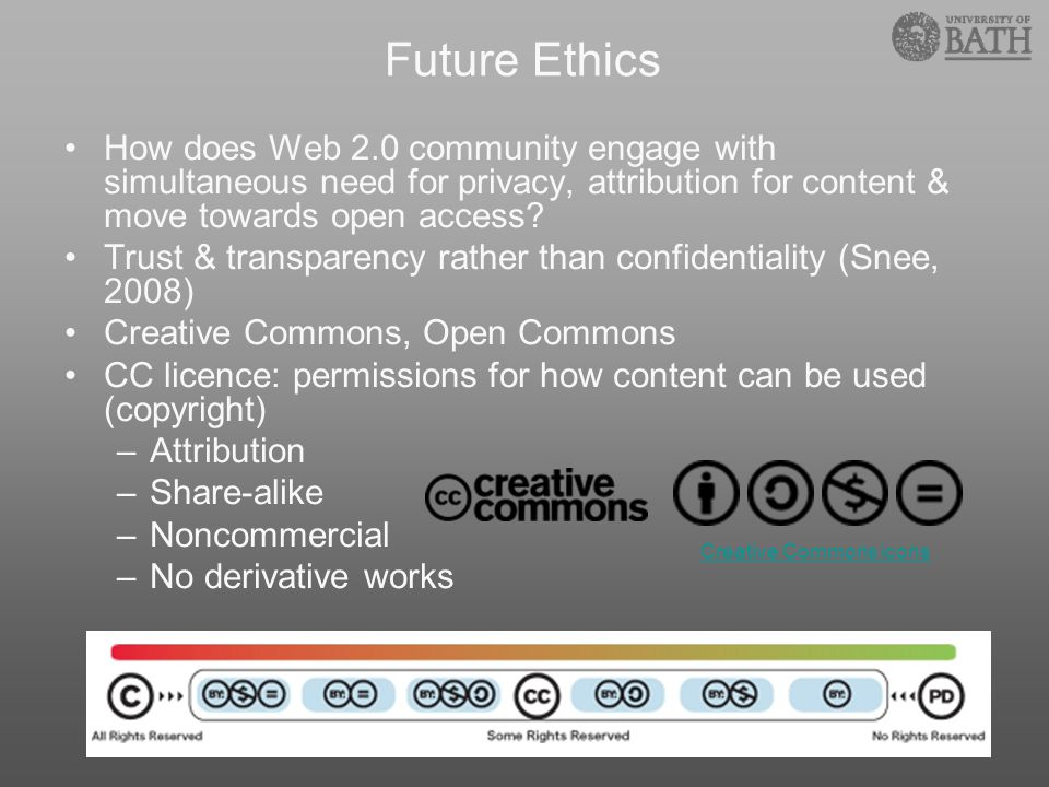 Future Ethics How does Web 2.0 community engage with simultaneous need for privacy, attribution for content & move towards open access? Trust & transp