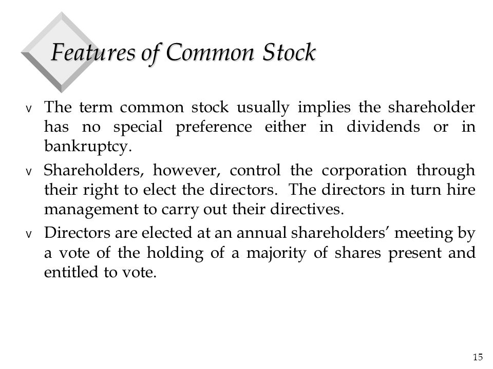 15 Features of Common Stock v The term common stock usually implies the shareholder has no special preference either in dividends or in bankruptcy.