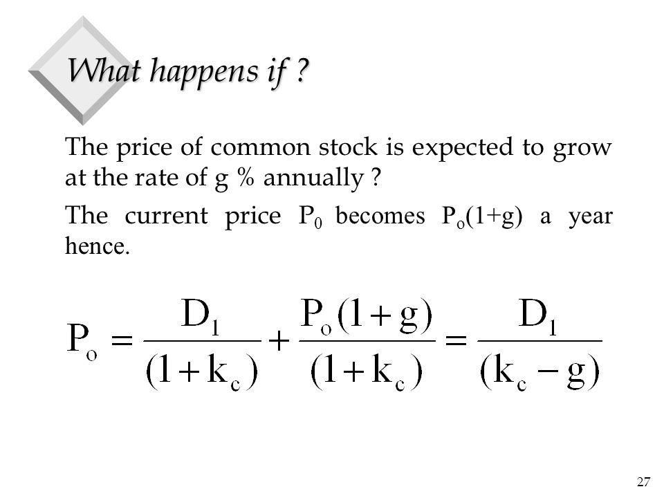 27 What happens if ? The price of common stock is expected to grow at the rate of g % annually ? The current price P 0 becomes P o (1+g) a year hence.