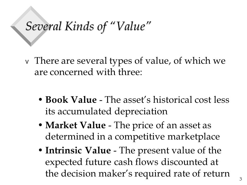 """3 Several Kinds of """"Value"""" v There are several types of value, of which we are concerned with three: Book Value - The asset's historical cost less its"""