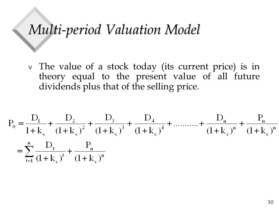 30 Multi-period Valuation Model v The value of a stock today (its current price) is in theory equal to the present value of all future dividends plus