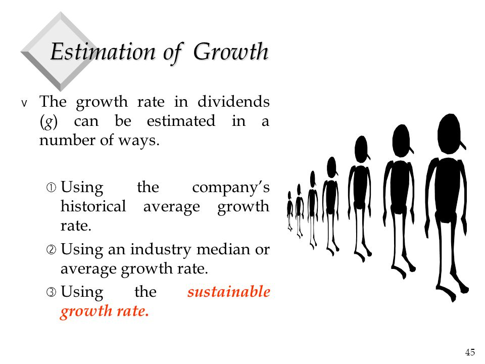 45 Estimation of Growth v The growth rate in dividends ( g ) can be estimated in a number of ways.  Using the company's historical average growth rat