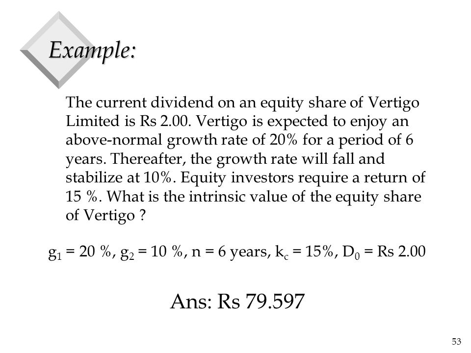 53 Example: The current dividend on an equity share of Vertigo Limited is Rs 2.00.