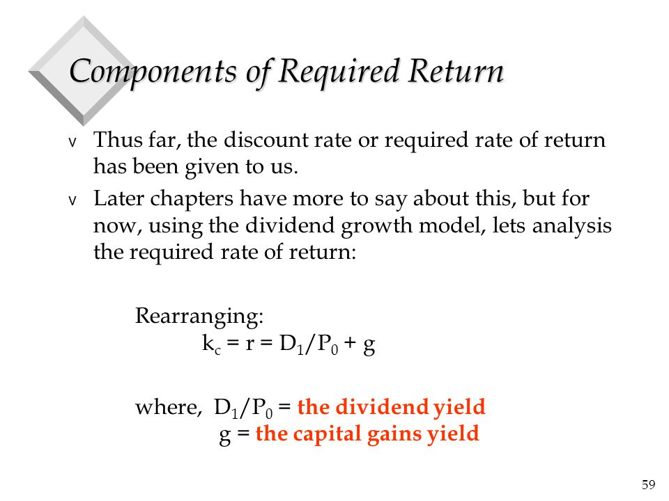 59 Components of Required Return v Thus far, the discount rate or required rate of return has been given to us.