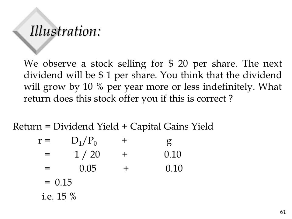 61 Illustration: We observe a stock selling for $ 20 per share. The next dividend will be $ 1 per share. You think that the dividend will grow by 10 %