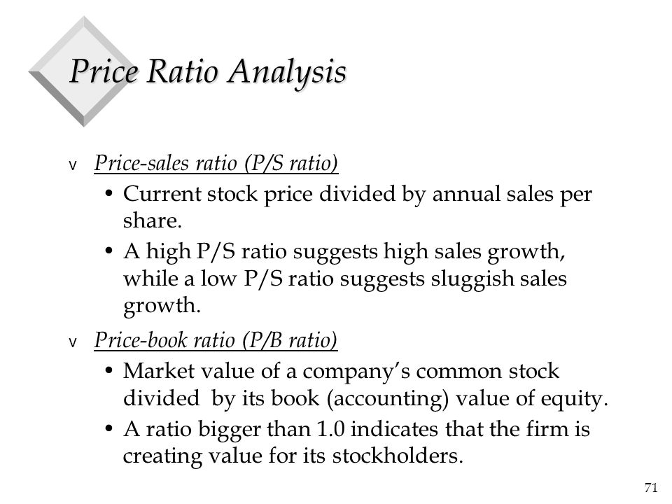 71 Price Ratio Analysis v Price-sales ratio (P/S ratio) Current stock price divided by annual sales per share. A high P/S ratio suggests high sales gr
