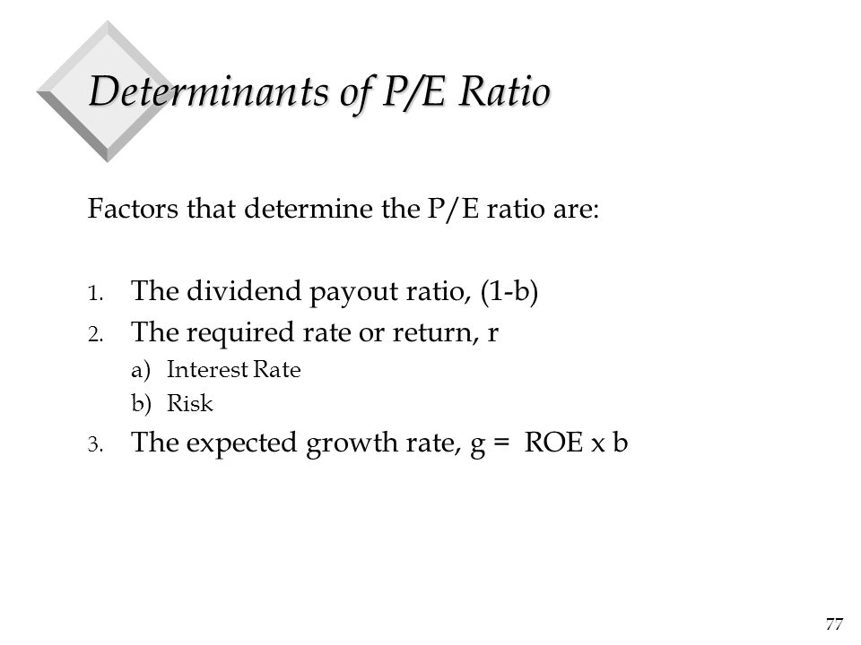 77 Determinants of P/E Ratio Factors that determine the P/E ratio are: 1. The dividend payout ratio, (1-b) 2. The required rate or return, r a)Interes