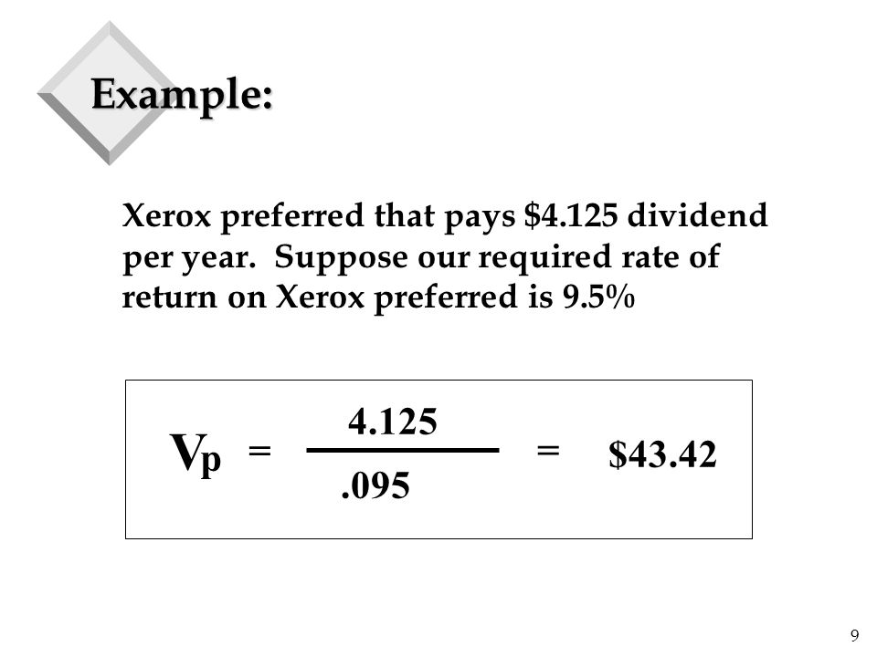 9 Example: Xerox preferred that pays $4.125 dividend per year.