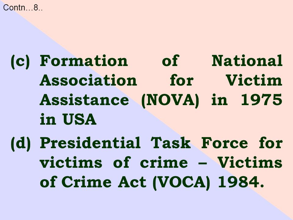 (c)Formation of National Association for Victim Assistance (NOVA) in 1975 in USA (d)Presidential Task Force for victims of crime – Victims of Crime Act (VOCA) 1984.