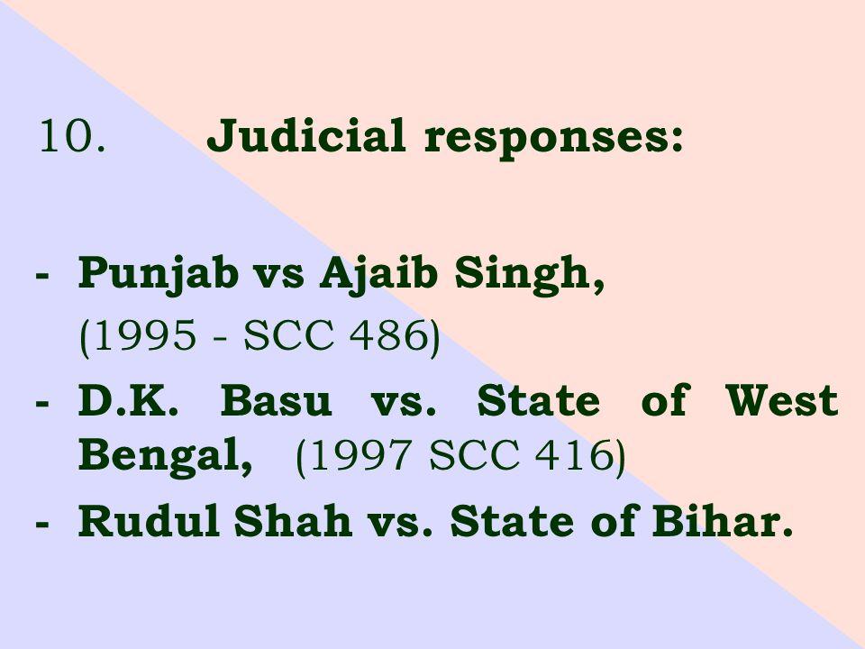 10. Judicial responses: -Punjab vs Ajaib Singh, (1995 - SCC 486) -D.K.