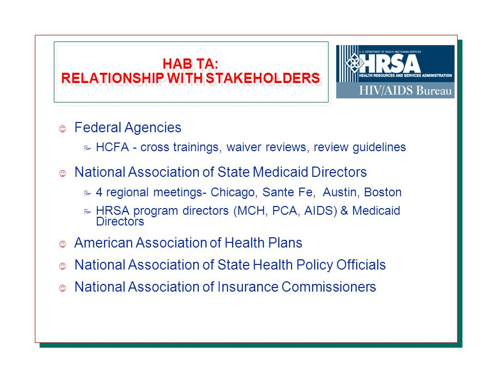 HAB TA: RELATIONSHIP WITH STAKEHOLDERS J Federal Agencies P HCFA - cross trainings, waiver reviews, review guidelines J National Association of State Medicaid Directors P 4 regional meetings- Chicago, Sante Fe, Austin, Boston P HRSA program directors (MCH, PCA, AIDS) & Medicaid Directors J American Association of Health Plans J National Association of State Health Policy Officials J National Association of Insurance Commissioners