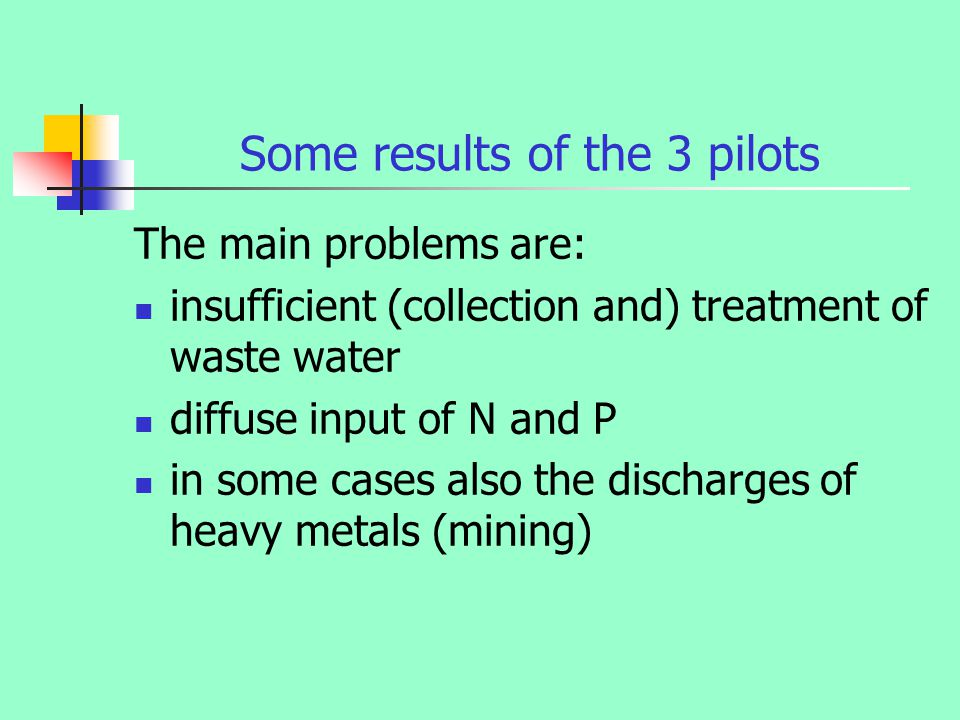 Some results of the 3 pilots The main problems are: insufficient (collection and) treatment of waste water diffuse input of N and P in some cases also the discharges of heavy metals (mining)