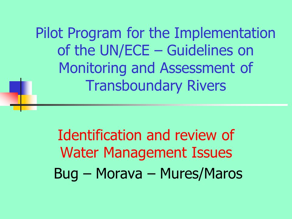 Pilot Program for the Implementation of the UN/ECE – Guidelines on Monitoring and Assessment of Transboundary Rivers Identification and review of Water Management Issues Bug – Morava – Mures/Maros