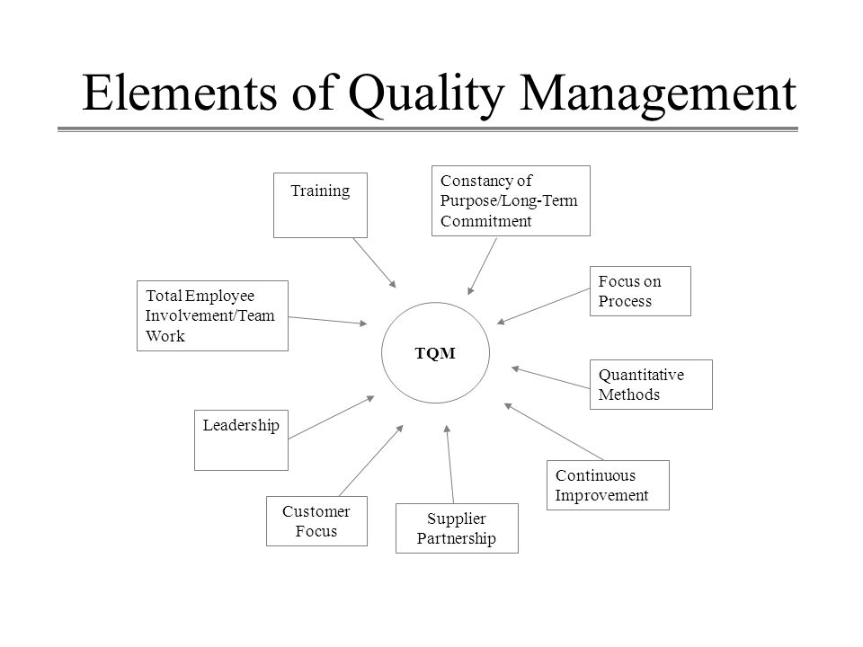 Elements of Quality Management Constancy of Purpose/Long-Term Commitment Total Employee Involvement/Team Work Leadership Customer Focus Supplier Partn