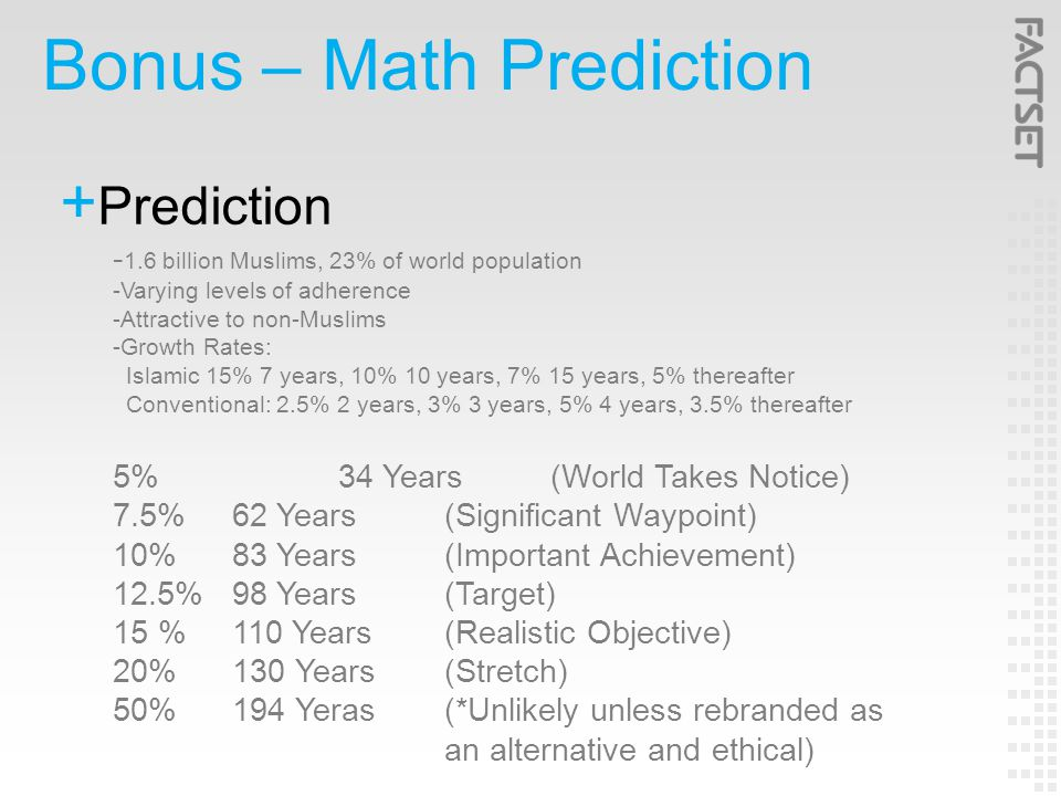 Bonus – Math Prediction  Prediction - 1.6 billion Muslims, 23% of world population -Varying levels of adherence -Attractive to non-Muslims -Growth Rates: Islamic 15% 7 years, 10% 10 years, 7% 15 years, 5% thereafter Conventional: 2.5% 2 years, 3% 3 years, 5% 4 years, 3.5% thereafter 5%34 Years (World Takes Notice) 7.5%62 Years(Significant Waypoint) 10%83 Years(Important Achievement) 12.5%98 Years(Target) 15 %110 Years(Realistic Objective) 20%130 Years(Stretch) 50%194 Yeras(*Unlikely unless rebranded as an alternative and ethical)