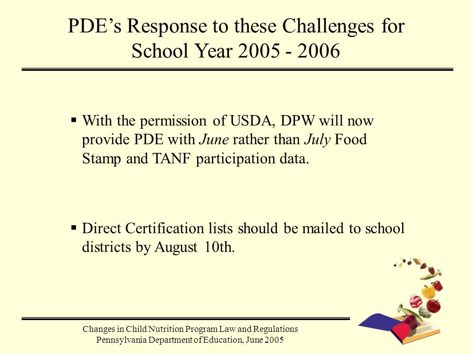  With the permission of USDA, DPW will now provide PDE with June rather than July Food Stamp and TANF participation data.  Direct Certification list
