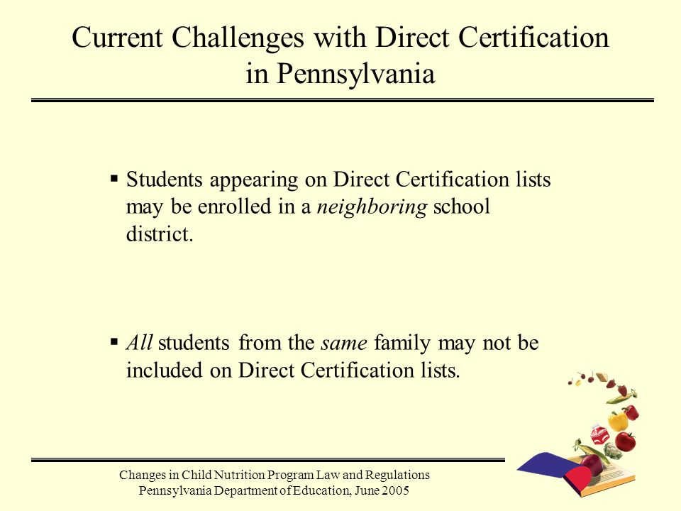  Students appearing on Direct Certification lists may be enrolled in a neighboring school district.  All students from the same family may not be in