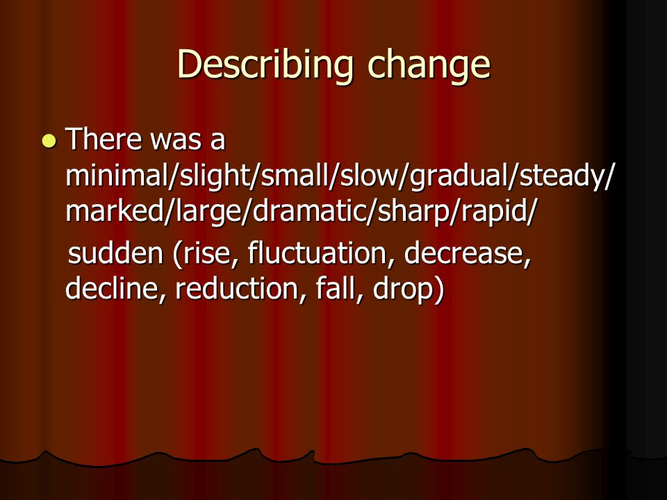Describing change There was a minimal/slight/small/slow/gradual/steady/ marked/large/dramatic/sharp/rapid/ There was a minimal/slight/small/slow/gradual/steady/ marked/large/dramatic/sharp/rapid/ sudden (rise, fluctuation, decrease, decline, reduction, fall, drop) sudden (rise, fluctuation, decrease, decline, reduction, fall, drop)