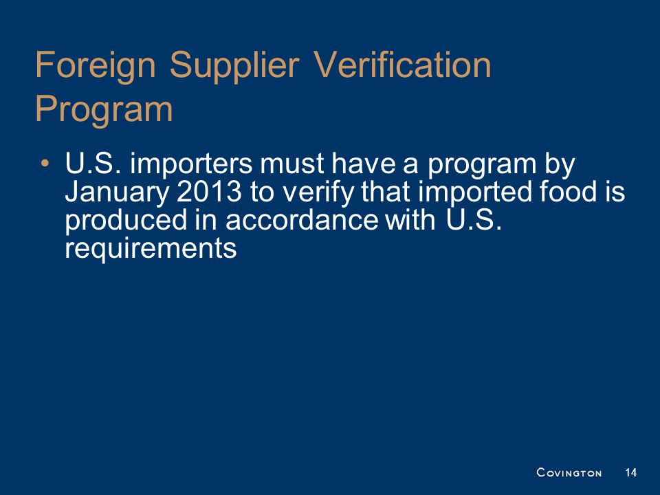 Foreign Supplier Verification Program U.S.