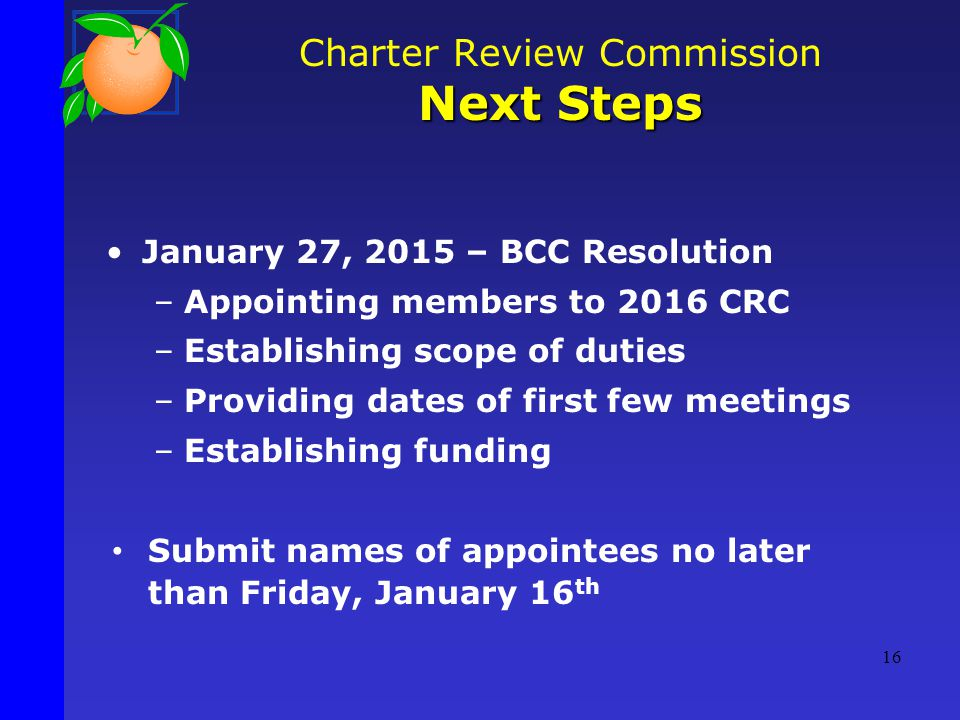 January 27, 2015 – BCC Resolution –Appointing members to 2016 CRC –Establishing scope of duties –Providing dates of first few meetings –Establishing funding Submit names of appointees no later than Friday, January 16 th Charter Review Commission Next Steps 16