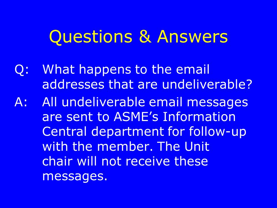 Questions & Answers Q:What happens to the email addresses that are undeliverable.