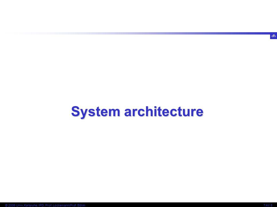 19 © 2006 Univ,Karlsruhe, IPD, Prof. Lockemann/Prof. BöhmTAV 8 System architecture