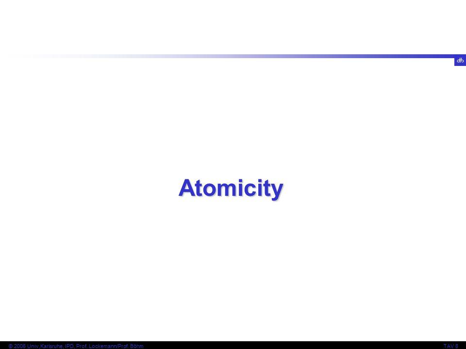 2 © 2006 Univ,Karlsruhe, IPD, Prof. Lockemann/Prof. BöhmTAV 8 Atomicity