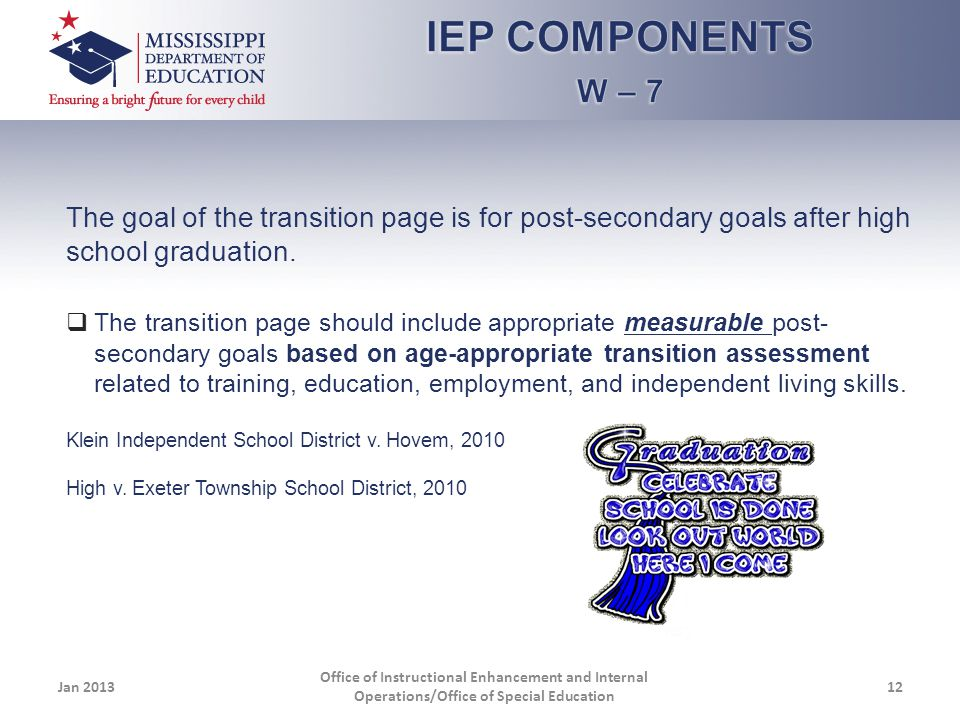 The goal of the transition page is for post-secondary goals after high school graduation.