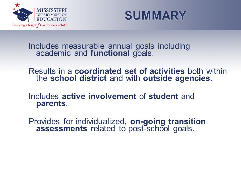 Includes measurable annual goals including academic and functional goals.