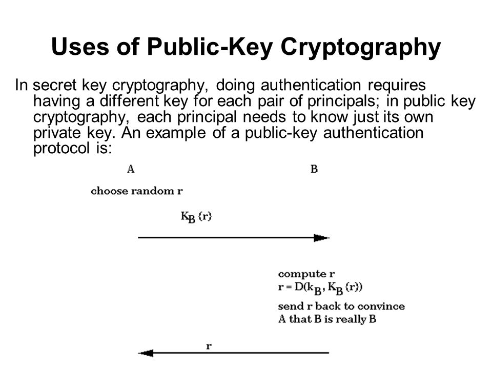 Uses of Public-Key Cryptography In secret key cryptography, doing authentication requires having a different key for each pair of principals; in public key cryptography, each principal needs to know just its own private key.
