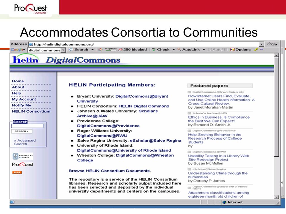 Accommodates Consortia to Communities