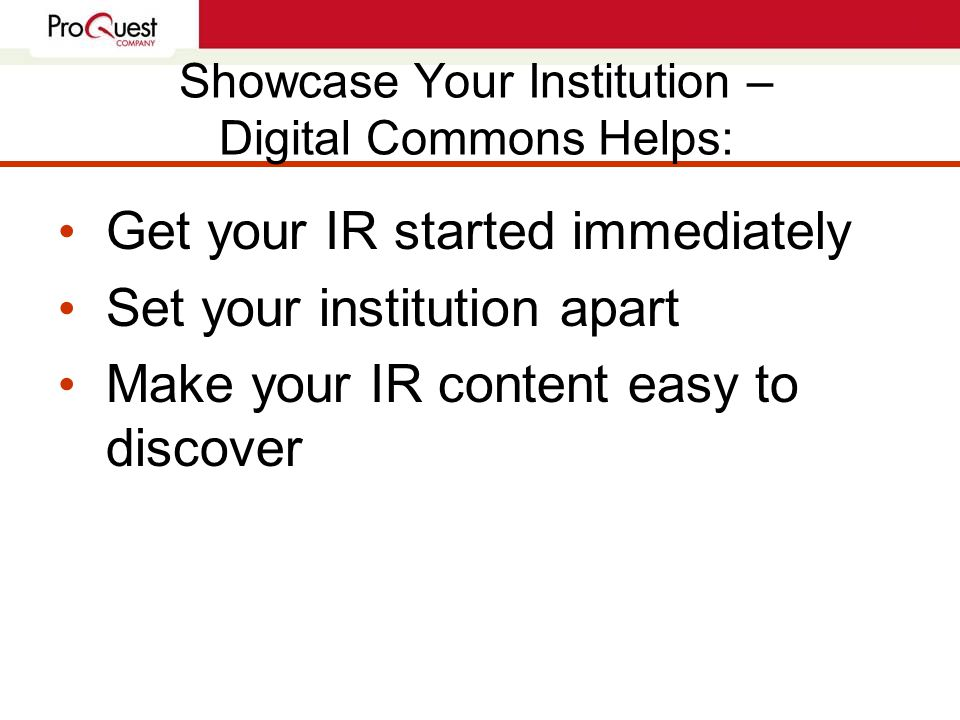 Preserve Your Scholarship Quarterly delivery of content for dark archive available Stable and portable Sites hosted at secure, redundant ISPs Permanent URLs in your institution's domain You own & keep your content ProQuest retains no copyright/ownership interest